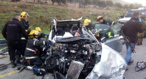 مصرع شخصين في حادث طرق مروع بين شاحنة إسرائيلية وسيارة خصوصية اسرائيلية