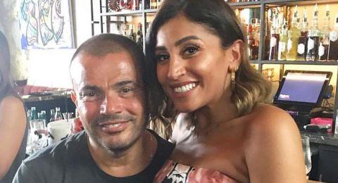 عمرو دياب يرد على شائعة إنفصاله عن دينا الشربيني بإحتفال خاص