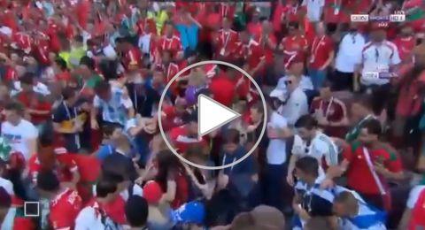فيديو.. مشجعون مغاربة يمنعون رفع العلم الإسرائيلي في مدرجات مونديال روسيا