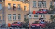 لص روسي يسرق مدفأة من مركز للشرطة ويقفز مقيّداً من النافذة