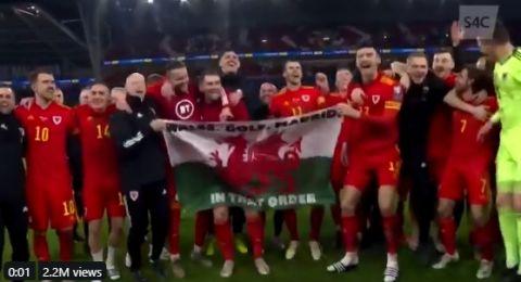 غاريث بيل يستفز ريال مدريد خلال احتفاله بتأهل ويلز إلى يورو 2020