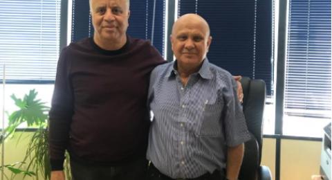 جلسة عمل بين كايد ظاهر وعرسان عيادات مفتش وزارة المعارف في لواء حيفا