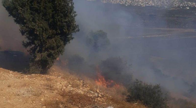 حريق هائل قرب دير حنا واخلاء طلاب مدارس