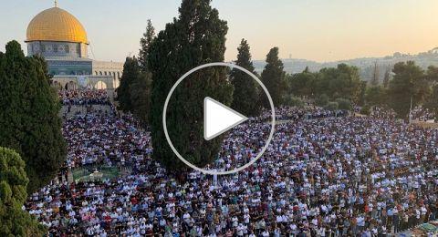أكثر من مئة الف مصل يؤدون صلاة عيد الأضحى المبارك في رحاب الاقصي.
