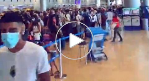 بالفيديو: مطار بن غوريون يشهد ازدحاما كبيرا ، 8200 مسافر، نصفهم الى تركيا