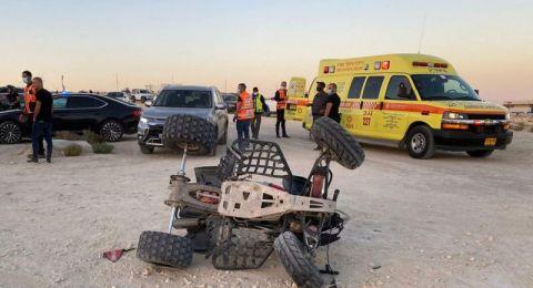 إصابة طفلين اثر اصطدام تراكتورون بسيارة في النقب