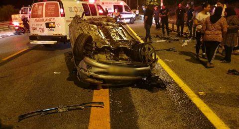 اصابتان في انقلاب سيارة بالقرب من الكابري