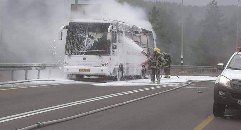 مسجاف: اشتعال حافلة ركاب وطواقم الاطفاء تخمدها