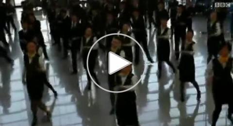 رقصة مفاجئة لـ 66 مضيفة طيران في مطار شنغهاي