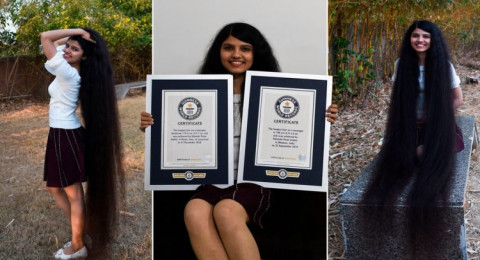 ملكة أطول شعر في العالم الشابة الهندية نيلانشي باتيل تحتفظ بلقبها
