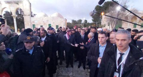 الرئيس الفرنسي يطرد الحراسة الإسرائيلية الى خارج الكنيسة في باب الاسباط