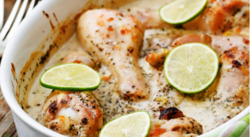 أفخاد الدجاج بالكريمة والليمون والثوم