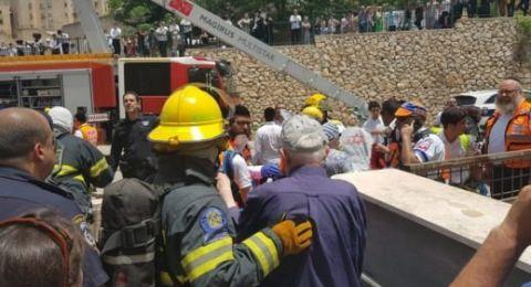 صفد:حريق في مبنى سكني يسفر عن اصابة 14 شخصًا
