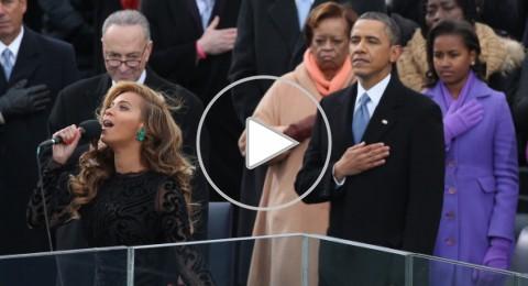 بيونسيه تقدم النشيد الوطني الأمريكي من أجل أوباما