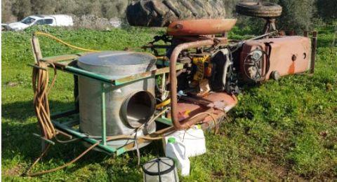 إصابة خطيرة لمزارع في كفر مندا اثر انقلاب تراكتور زراعي