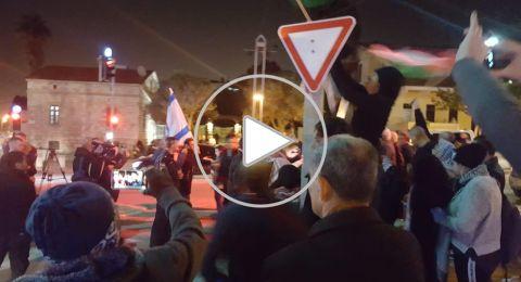 حيفا: وقفة احتجاجيّة اسناديّة للأسرى ضد القمع واليمين يتظاهر للإستفزاز