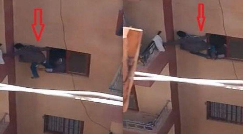 مصرية تدفع ابنها من نافذة عمارة لفتح باب الشقة المغلق وتخاطر بحياته