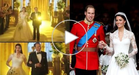 غادة عبدالرازق ترتدي فستان زفاف كيت ميدلتون وتقلد تسريحة شعرها