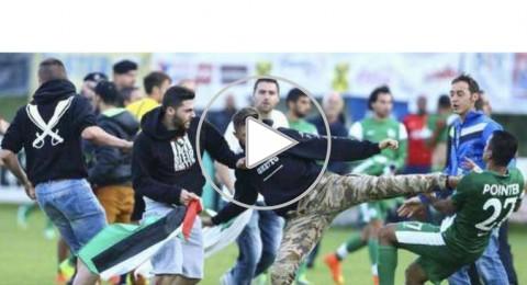 مشجعون يقتحمون مباراة مـ حيفا وليل احتجاجا على العدوان على غزة