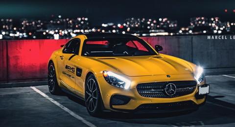 مرسيدس AMG GT باللون الأصفر Solarbeam المعدني تظهر معدنها الحقيقي