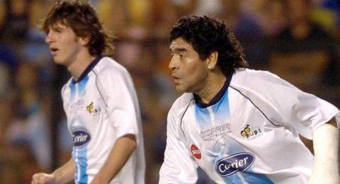 عندما إجتمع مارادونا وميسي في فريق واحد