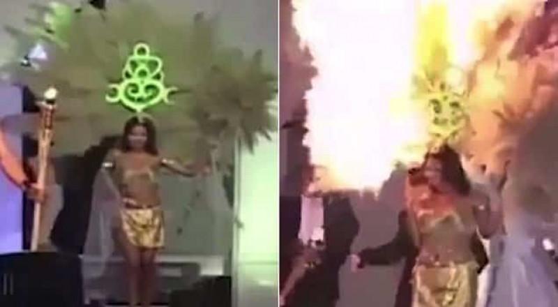احتراق ملكة جمال السلفادور على خشبة المسرح!
