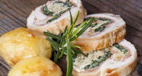 دجاج محشي بالسبانخ والجبن