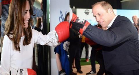كيت والأمير ويليام وشقيقه هاري يمارسون الملاكمة