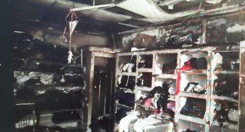 حيفا: اندلاع حريق بمحل ملابس وشبهات تشير إلى اضرام نار متعمّد