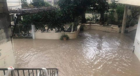 مشيرفة: فيضانات وغرق احد المنازل