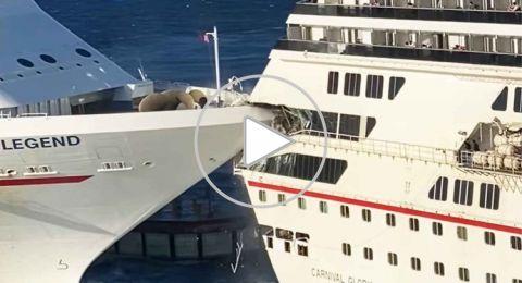 شاهدوا لحظة اصطدام سفينتين عملاقتين في سواحل المكسيك