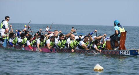 نادي دولفينز عكا يفوز في المراتب الاولى بسباق طبربا لقوارب الدراغون