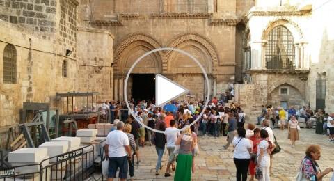 تواصل اعمال الترميم في القبر المقدس لكنيسة القيامة
