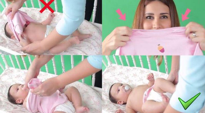 إليك الحيلة الأسهل لنزع ملابس طفلك الرضيع!