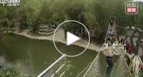 شاهد: لحظة انهيار جسر بمجموعة سياح في الصين