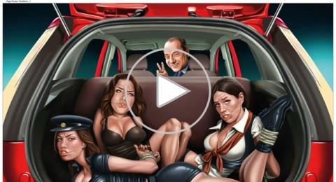 إعلان يُظهر برلسكوني برفقة ثلاث نساء يرتدين ملابس مثيرة
