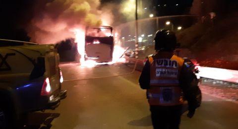 اندلاع النيران بحافلة خاصة من باقة الغربية