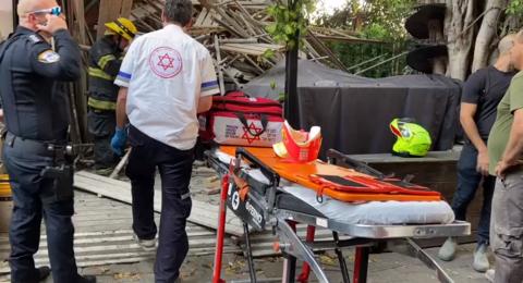 اصابة عامل اثر انهيار سقائل في ورشة بتل أبيب