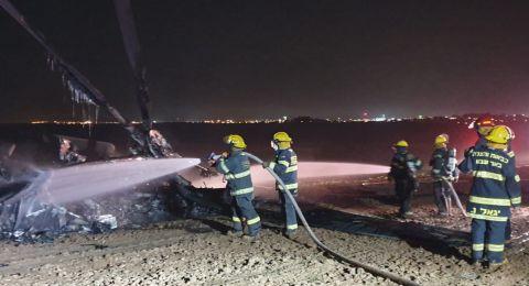 النقب: اندلاع حريق في طائرة عمودية