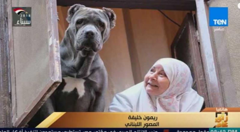 صورة سيدة مصرية تطل مع كلبها من النافذة تجتاح مواقع التواصل