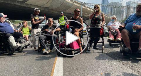 مظاهرات ذوي الاحتياجات الخاصة تغلق الشوارع الرئيسية في البلاد