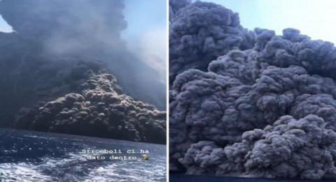 بركان ثائر يطارد مركب أمام صقلية ويصيب ركابه بالذعر