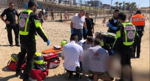 اصابة خطيرة لمسن (74 عامًا) جراء تعرضه للغرق على شاطئ البحر في  تل أبيب