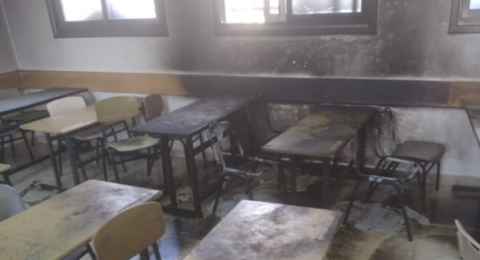 مستوطنون يحرقون صفا دراسيا جنوب نابلس