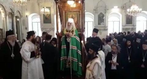 بطريرك صربيا يصلي في الكنيسة المريمية بدمشق
