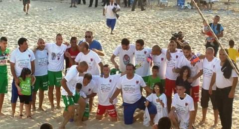 فلفلة كفر قاسم يتوج بلقب البطولة الثالث في كرة القدم الشاطئية