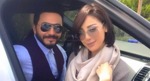 تامر حسني برفقة زوجته بسمة بوسيل لأداء مناسك العمرة