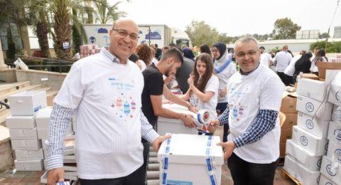 موظفو بنك لئومي يساهمون في حملة تبرعات لطرود غذائية للعائلات المستورة في شهر رمضان