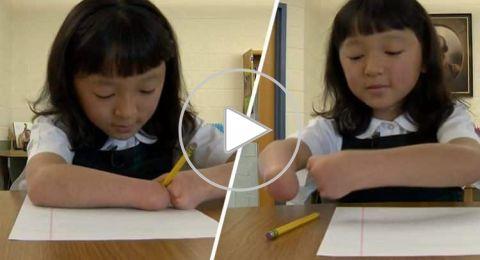فتاة بلا يدين تفوز بمسابقة للخط