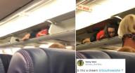 لماذا اختبأت المضيفة بخزانة الحقائب على الطائرة؟